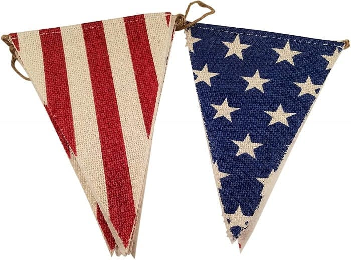 Burlap patriotic flags- Amazon