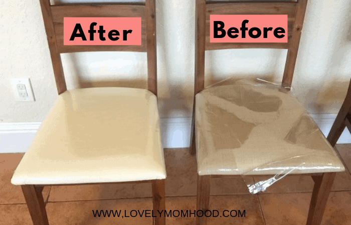 How to Reupholster Dining Room Chairs with Fabric and Vinyl (Tutorial)