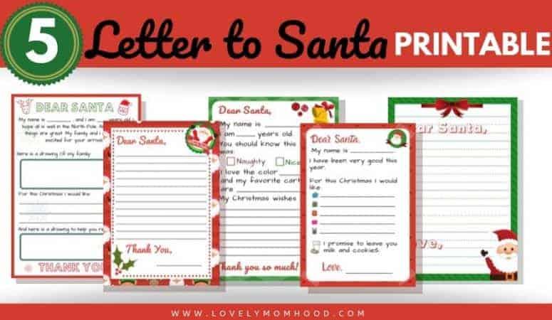 "5 ""Letter to Santa"" Template Printables (Downloadable PDF)"