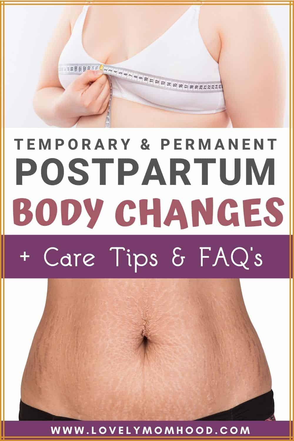 temporary and permanent postpartum body changes, postpartum care tips