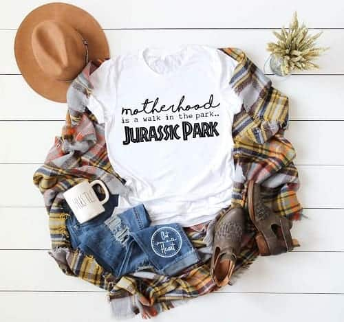 Motherhood is walk in the park, Jurassic Park mom shirt