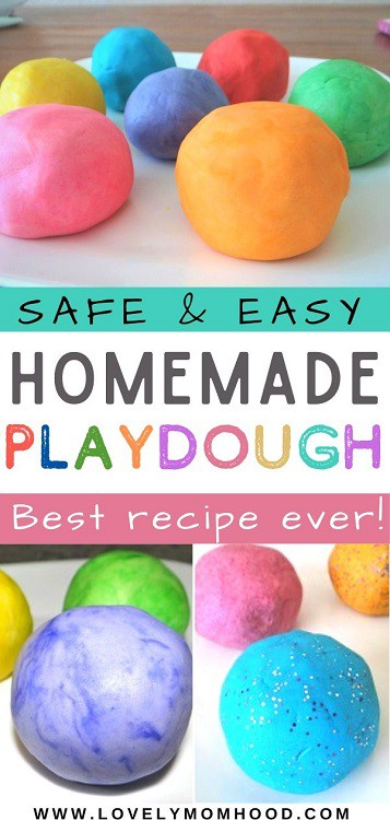 best homemade playdough recipe, easy and no cooking required