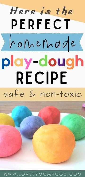 the best homemade playdough recipe, safe and non-toxic