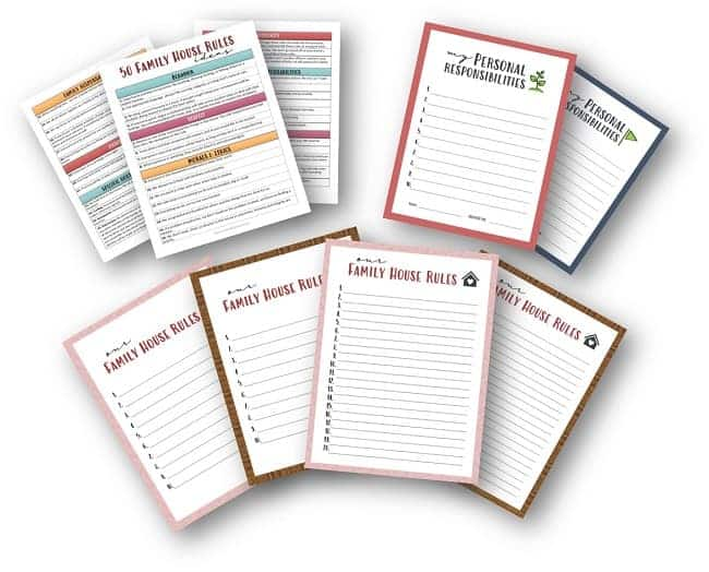 Family House Rules Printable Template fro Kids and Teens
