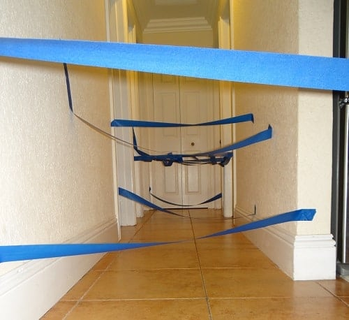 Hallway tape maze for kids at home