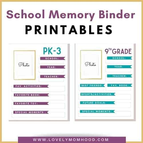 School Memory Binder Printable Pages