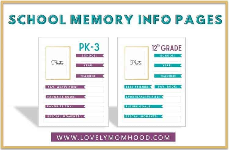 Organize school papers with School Memory Info Pages