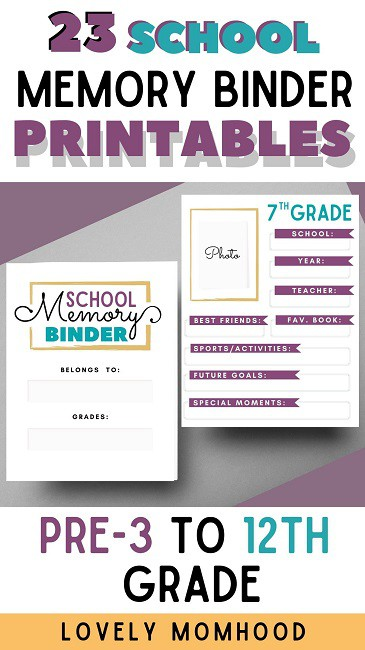 school memory binder printable