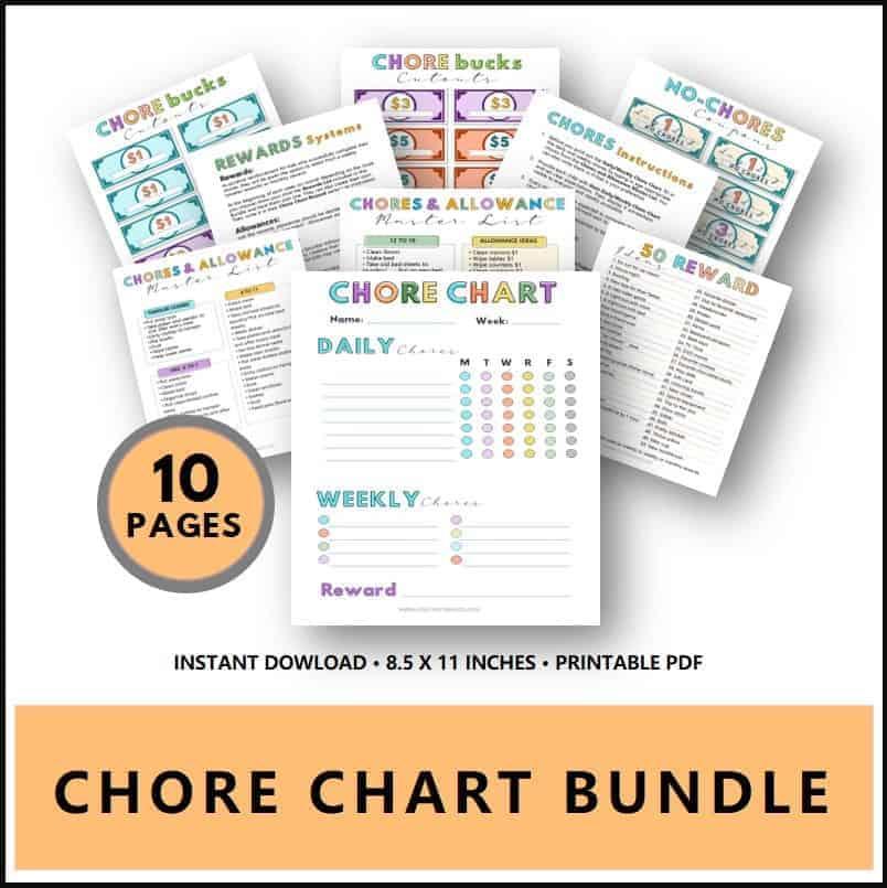 printable chore chart bundle PDF
