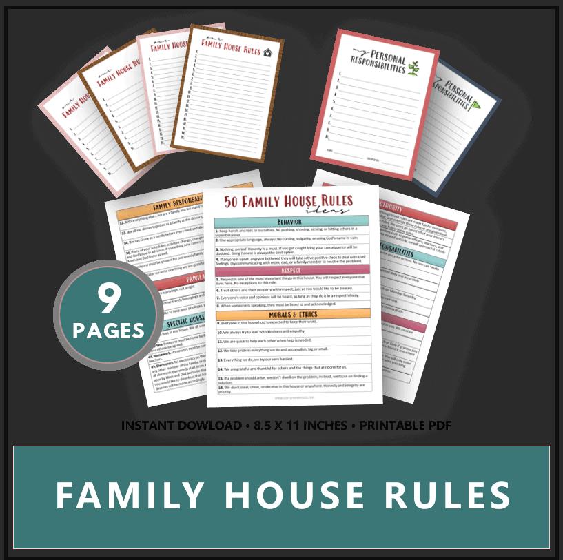printable family house rules list