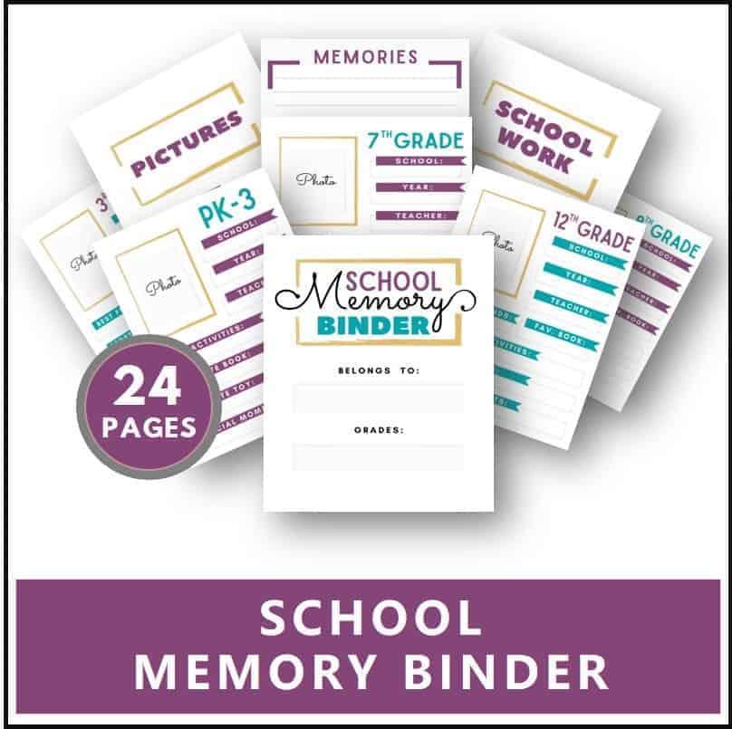 printable school memory binder