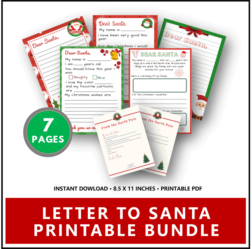 Letter to Santa Template Printable Bundle