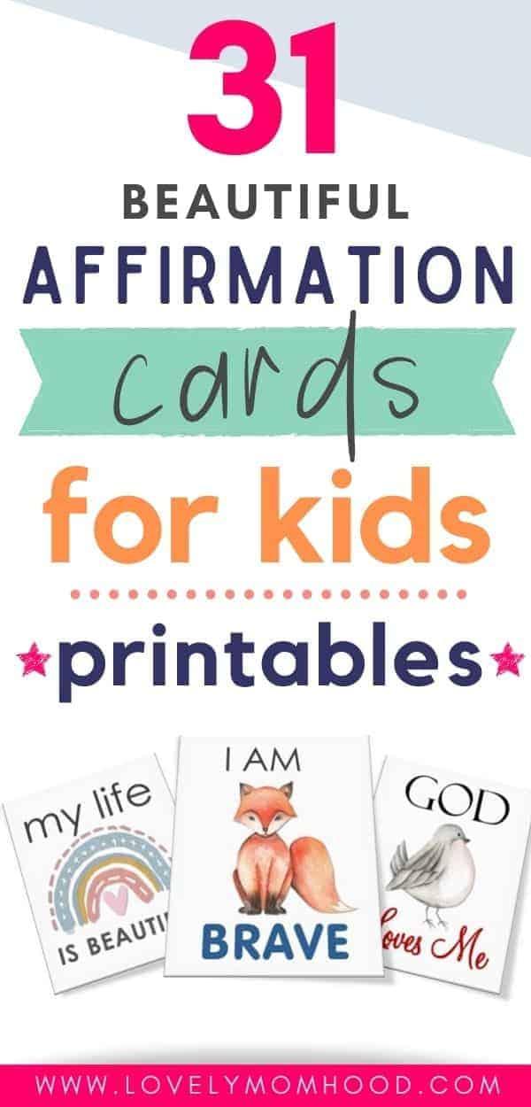 Printable Affirmation Cards for Kids