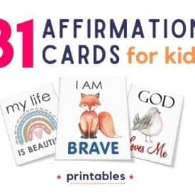 Affirmation cards for kids, kids printanbles