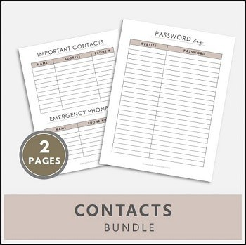 Contacts printables, password log printable