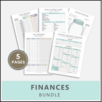 budget tracker, income and expenses printables