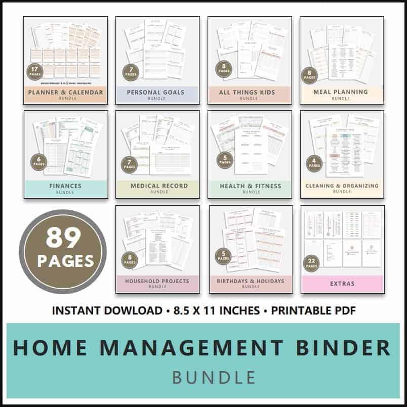 Home Management Binder Printable Shop