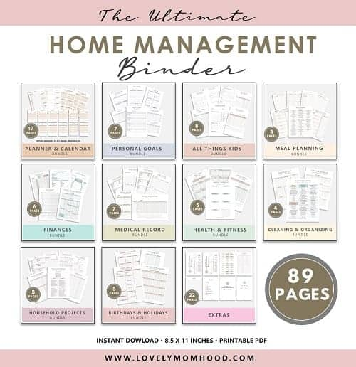 Home Management Binder Printables, category images