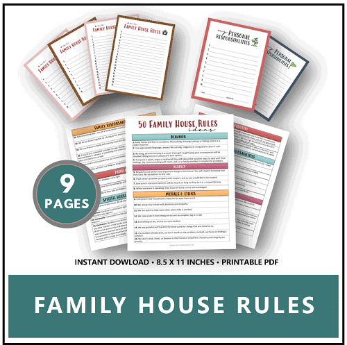 family house rules mom printables